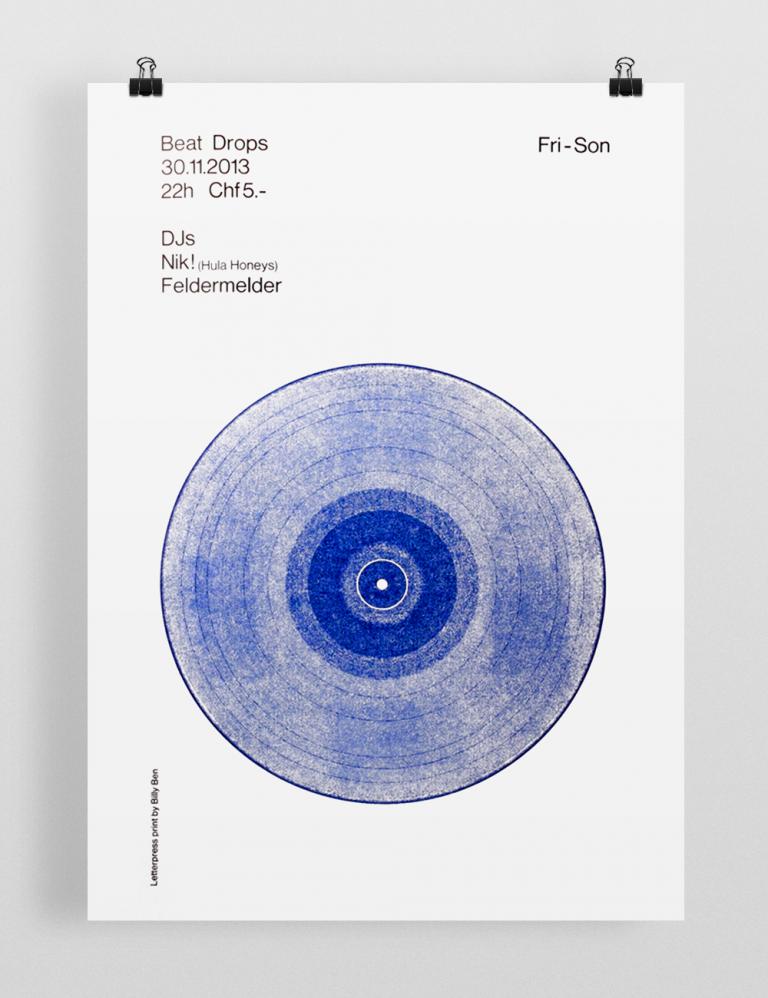 Billy Ben Beatdrops Letterpress Posters